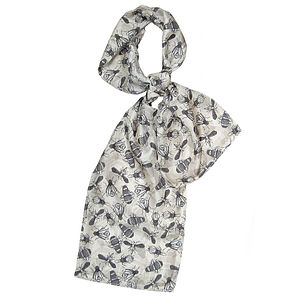 Bug De Luxe Long Silk Scarf - monochrome