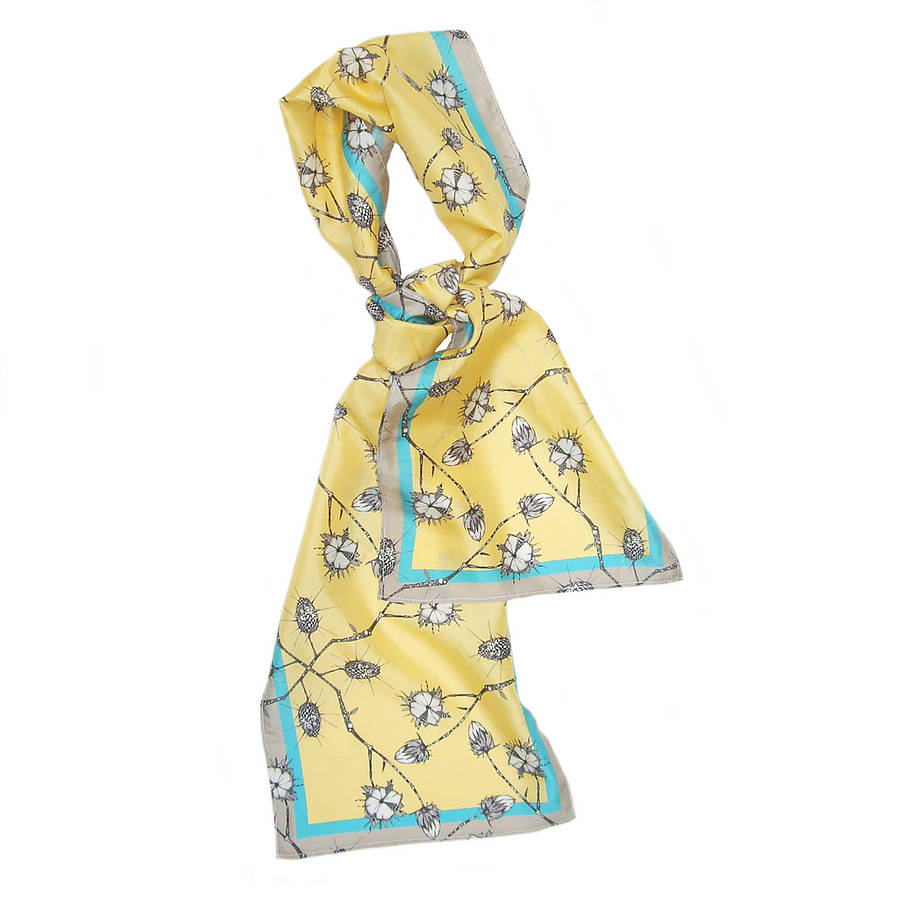 Grey Vine Long Silk Scarf