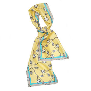 'Grey Vine' Long Silk Scarf