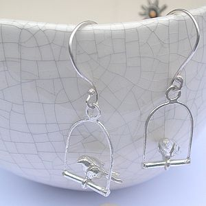 Silver Perched Bird Earrings