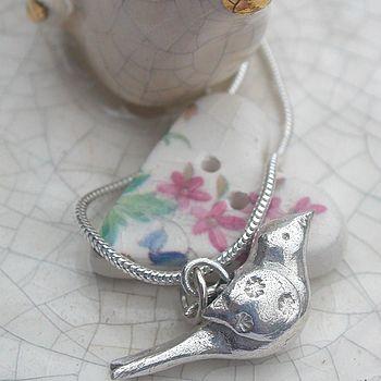 Silver 'Lovey Dovey' Bird Necklace