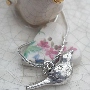 Silver 'Lovey Dovey' Bird Necklace