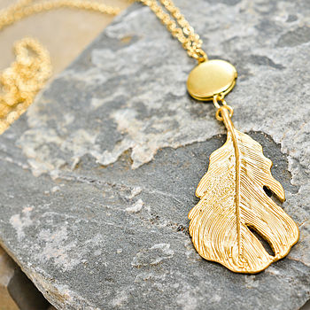 Feather And Locket Necklace