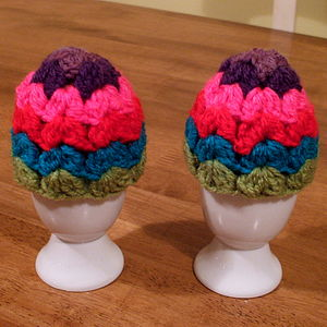 Pair Of Crocheted Granny Egg Cosies