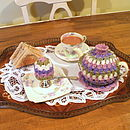 Hand crochet Spring tea set