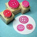 Three Mini Buttons Set Of Hand Carved Rubber Stamps