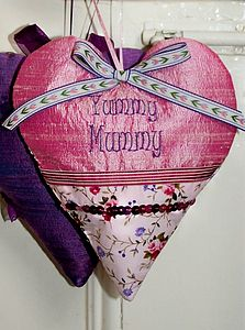 'Yummy Mummy' Embroidered, Silk Heart - decorative accessories