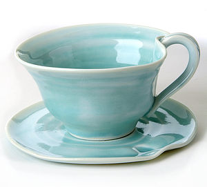Hand Thrown Tea Cup And Saucer - tableware