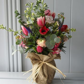 My Fair Lady - Hessian Jam Jar & Posy