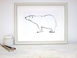 'Polar Bear' Hand Signed Print - children's room