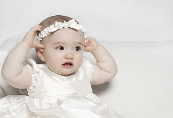 Silk headband with ivory bow