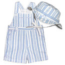 French Design Boys Dungaree And Matching Hat