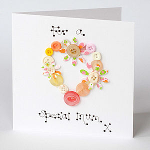 Handmade Button Birthday Card
