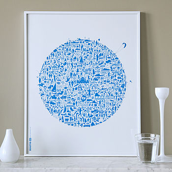'Brighton Rocks' Blue on White