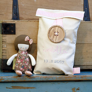 Baby Doll Rattle With Personalised Gift Bag - baby care