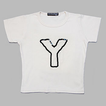 Personalised Sequin Initial T Shirt