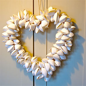 Large Shell Heart Wreath - outdoor decorations