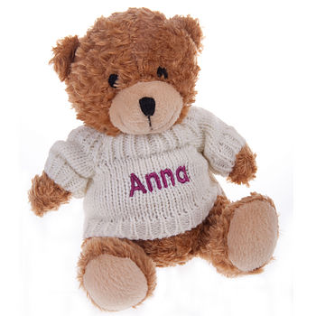 Personalised Bailey Bear with fuchsia text