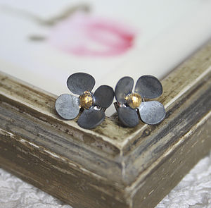 Black And Gold Buttercup Stud Earrings