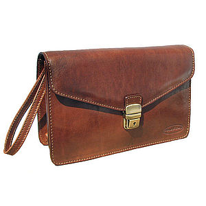 Mens Leather Clutch Bag With Wrist Strap