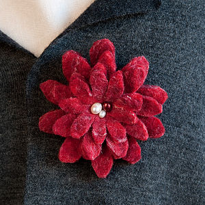 Handfelted Felt and Freshwater Pearl Corsage Brooch - pins & brooches
