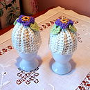 Pair Of Handmade Periwinkle Egg Cosies