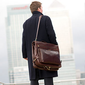 The Finest Leather Garment / Suit Carrier. 'Rovello' - holdalls & weekend bags