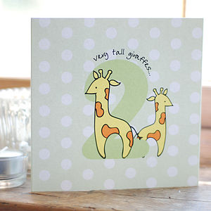 Second Birthday Very Tall Giraffes Card