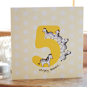 Fifth Birthday Stripey Zebras Card