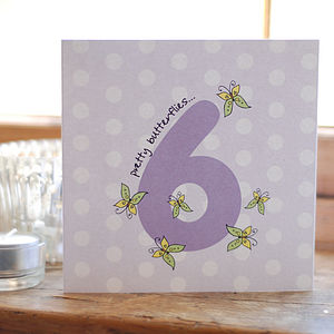 Sixth Birthday Butterflies Card
