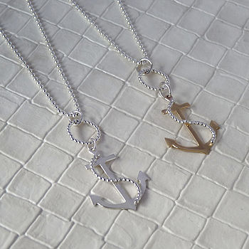 Anchor And Chain Pendant Necklace