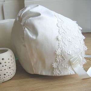 Lace Trim Christening Bonnet - clothing