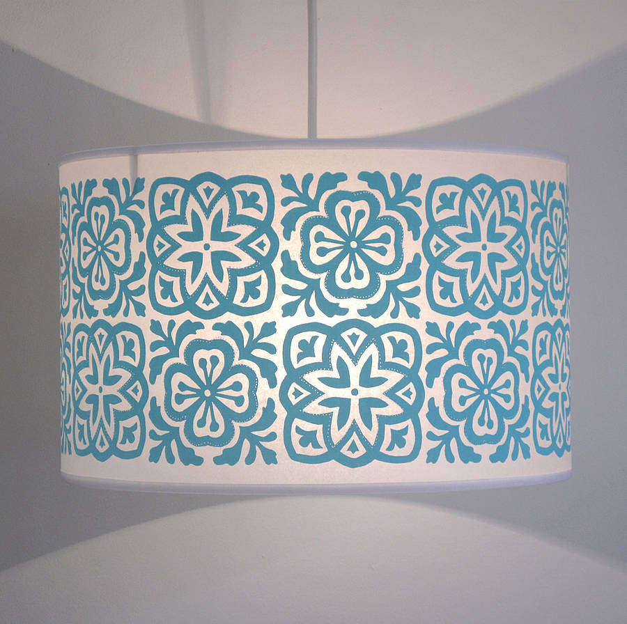 moroccan tile large drum lampshade by helen rawlinson ...