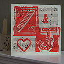 Personalised Initials Card on Vintage Music, shown in bespoke colour of red