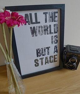 'World Is A Stage' Letterpress Print