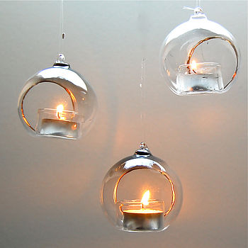 Set of 6 Hanging Glass Baubles for Tealights