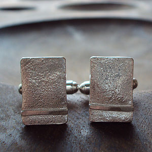 Silver Ribbon Rectangle Cufflinks - men's accessories