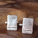 Silver Ribbon Rectangle Cufflinks