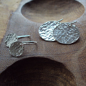 Silver Hammered Disc Earrings - women's jewellery