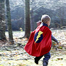red superhero dressing up cape