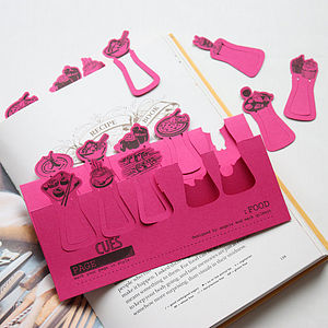 Set Of Ten Food Card Page Markers - gifts for her