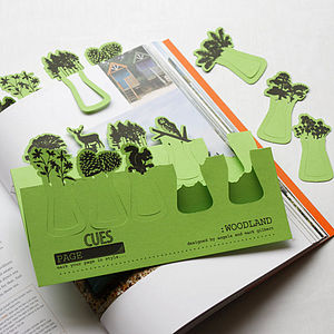Set Of Ten Woodland Card Page Markers - office & study