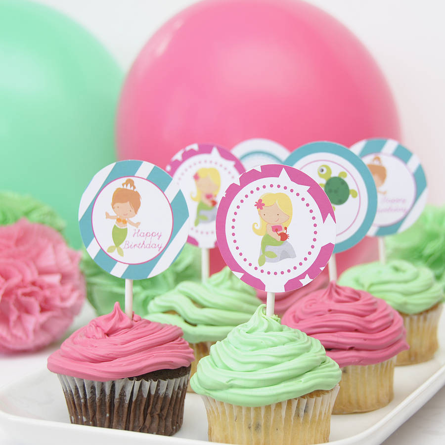 Mermaid Party Cupcake Toppers By Peach Blossom