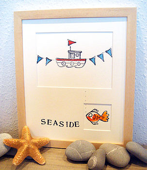 Personalised 'Boat and flags' Handmade Print