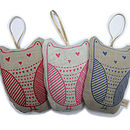 Lavender Hanging Owl: red, pink, blue