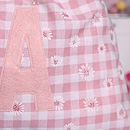 pink personalised drawstring bag close up