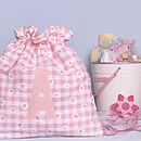 pink gingham personalised drawstring bag