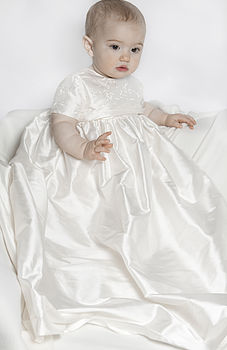 Christening Gown - Rome silk and embroidery detail