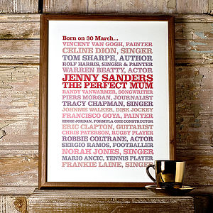 'Born On This Day' Poster Print - 30th birthday gifts