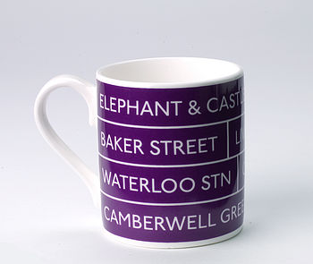 Bus Destination Mug, Purple